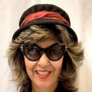 Vtg Black Felt Hat Maroon Satin Band
